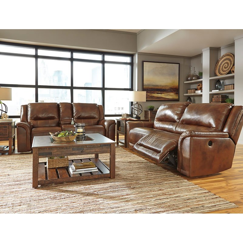 Living Room Sets Reclining: Jayron Leather Power Reclining Living Room Set Signature