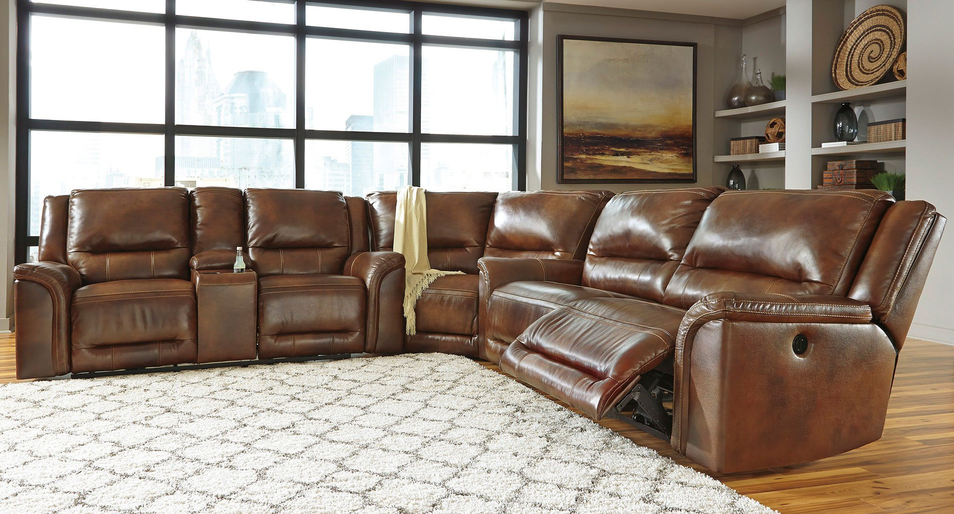 Jayron Leather Reclining Sectional By Signature Design By