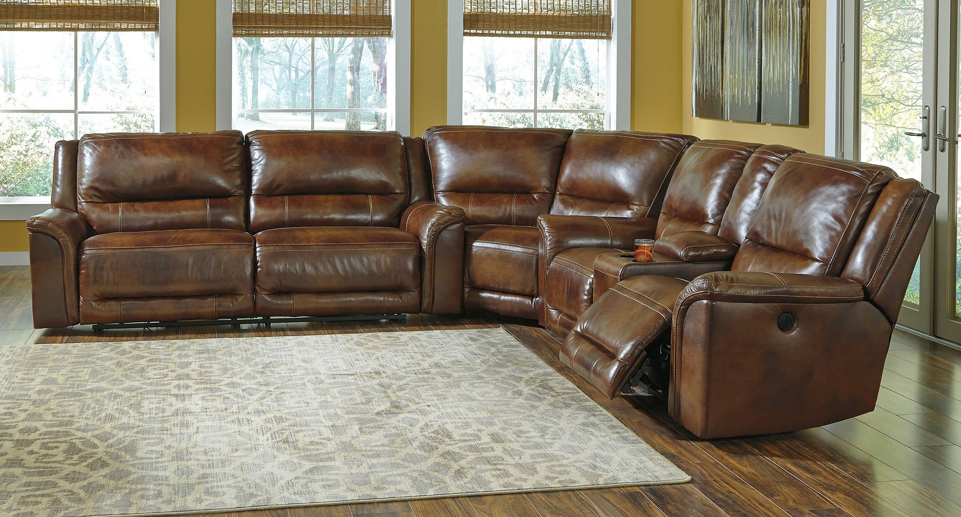 Jayron Leather Power Reclining Sectional Sectionals Living Room Furniture Living Room