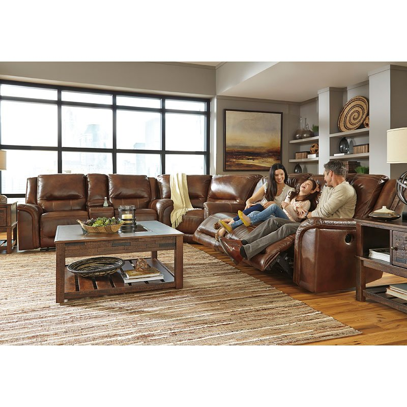 Jayron Leather Reclining Sectional Set By Signature Design