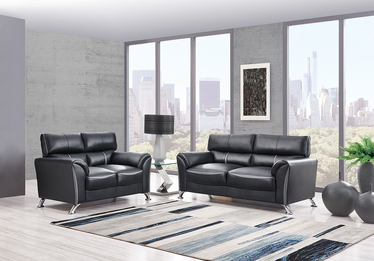 U9100 Living Room Set Black Dark Grey By Global