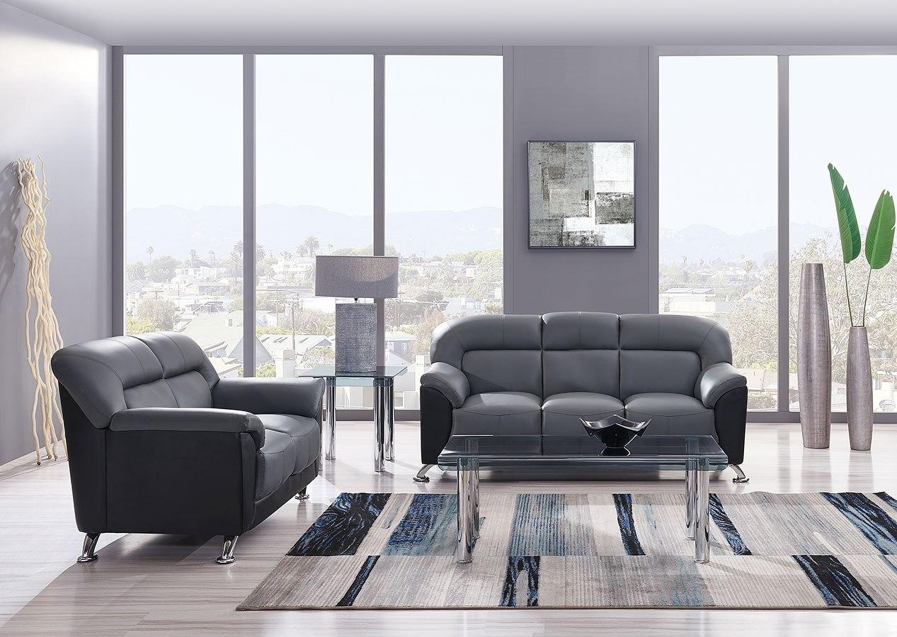 U9102 Living Room Set (Dark Grey / Black) By Global