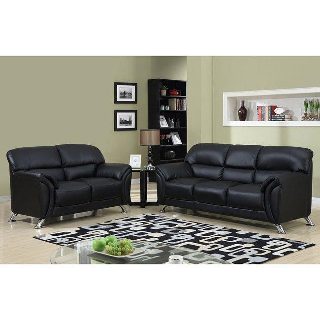 Living Room Furniture Sets Black: U9103 Black Modern Living Room Set Global Furniture