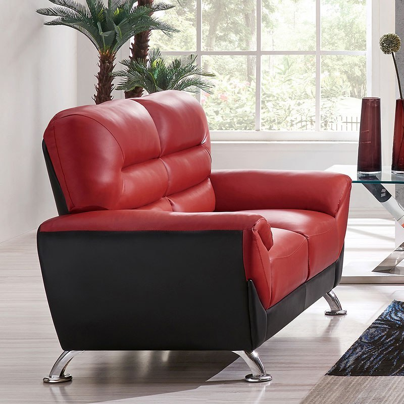 U9105 Red And Black Loveseat
