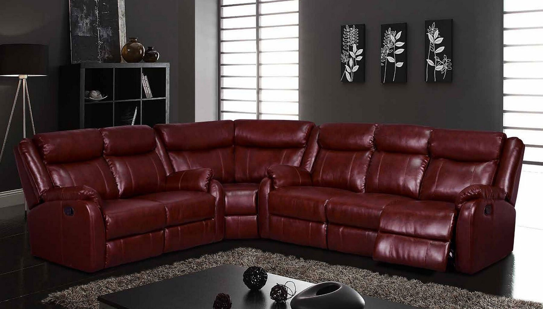 Ordinaire U9303 Reclining Sectional (Burgundy)