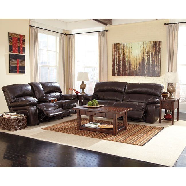 Damacio dark brown reclining living room set by signature - Red leather living room furniture set ...