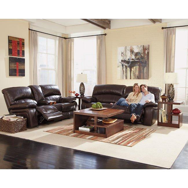 Damacio Dark Brown Reclining Living Room Set By Signature