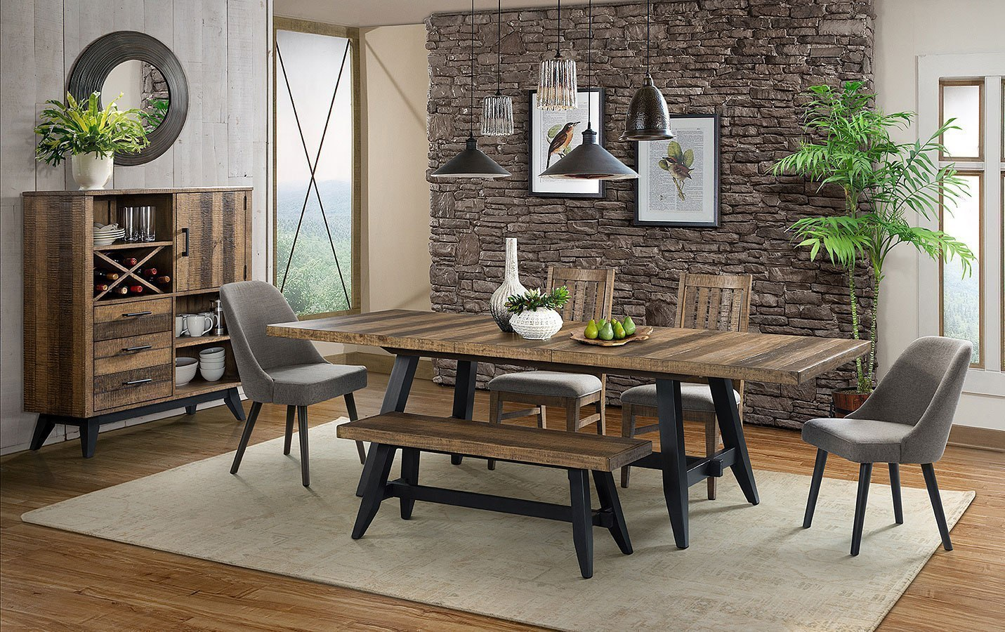 Urban Rustic Rectangular Dining Room Set