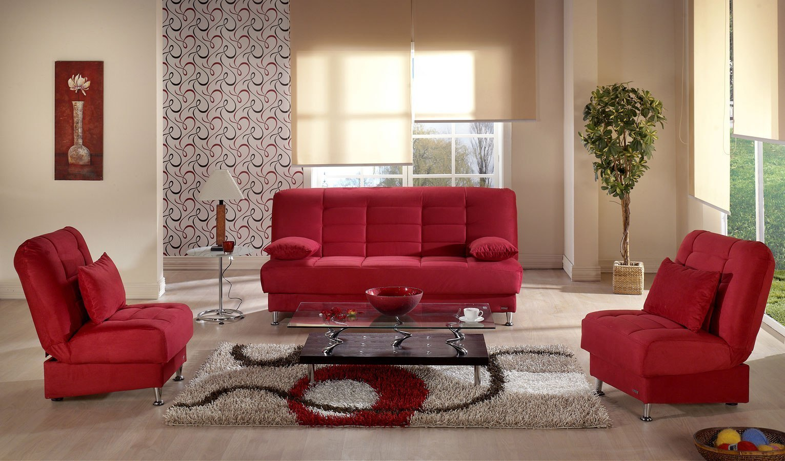 Red Living Room: Vegas Living Room Set (Rainbow Red) By Istikbal Furniture