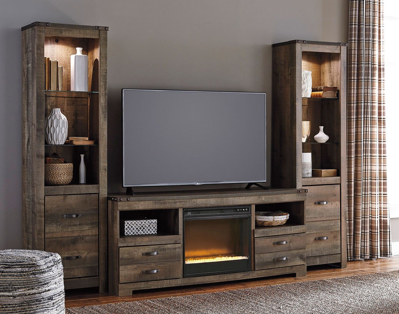 Trinell Entertainment Center W Glass And Stone Fireplace