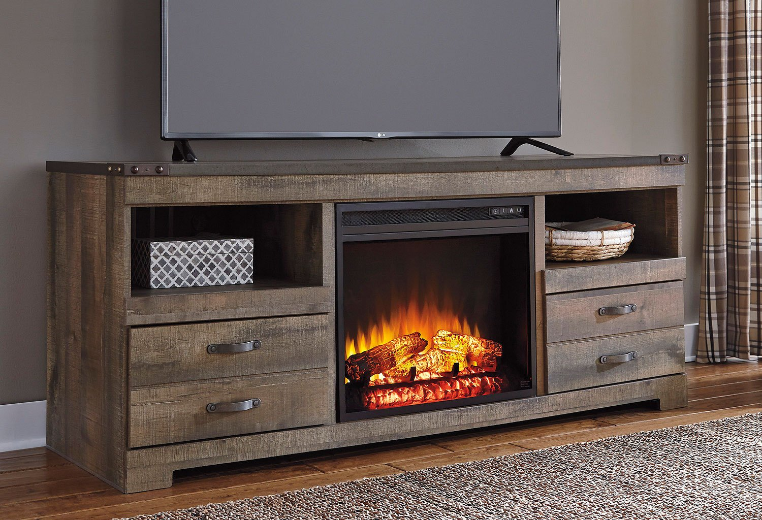 Trinell Large Tv Stand W Fireplace By Signature Design By Ashley Furniturepick