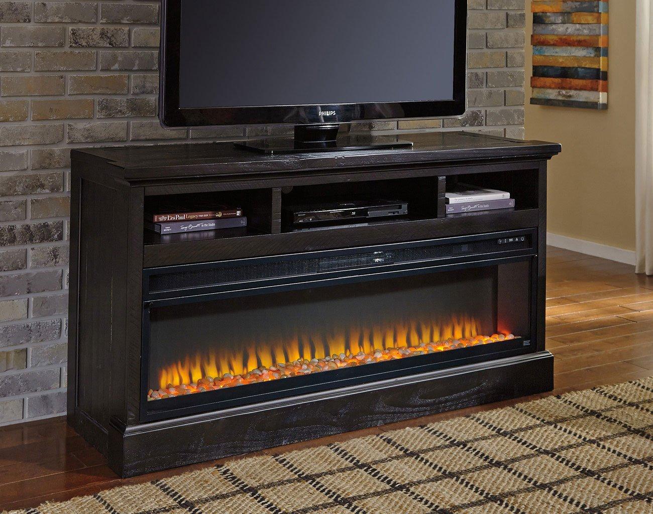 Sharlowe Large Tv Stand W Electric Fireplace Tv Stands