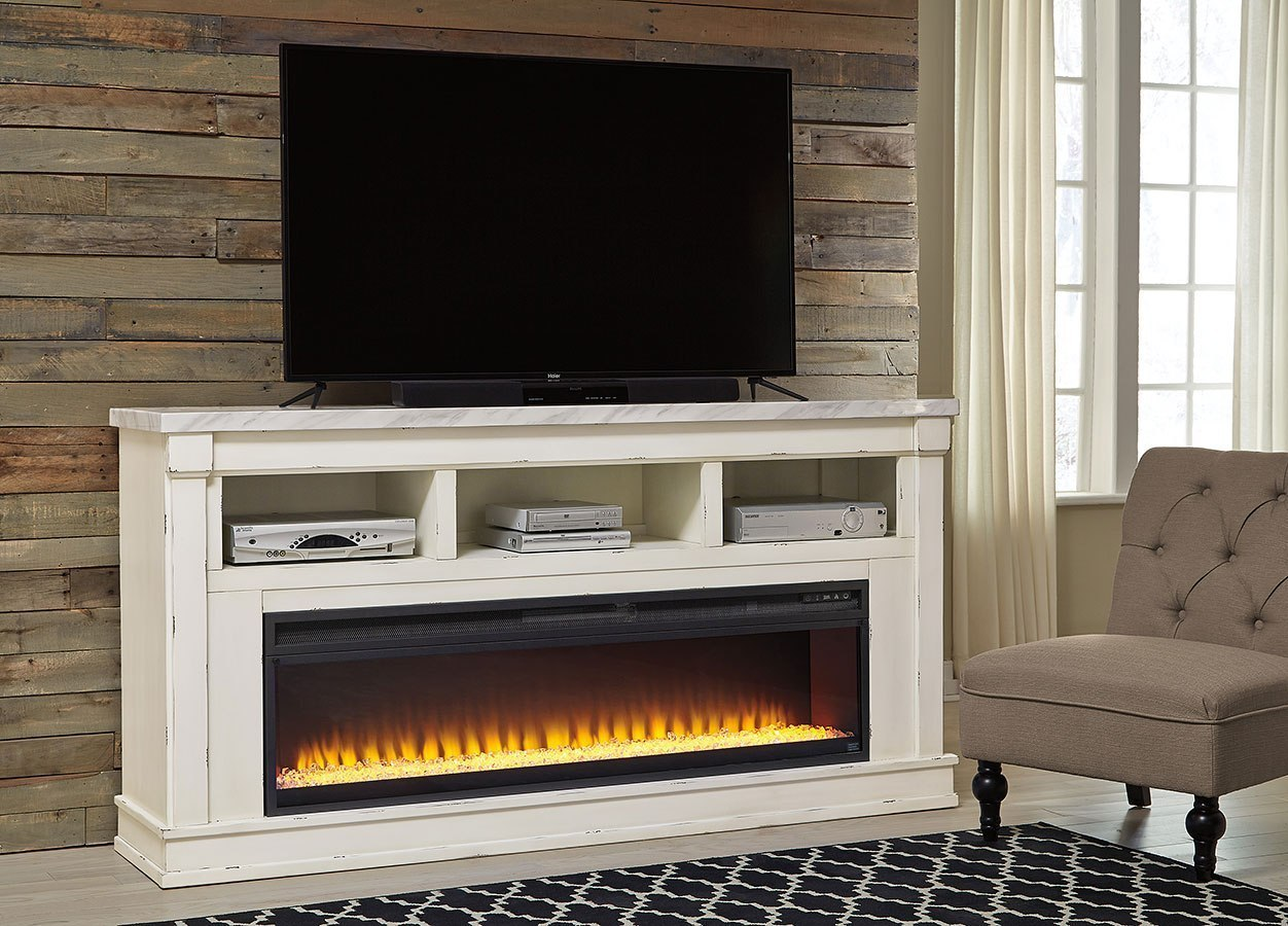 Becklyn Extra Large Tv Stand W Wide Fireplace By Signature Design