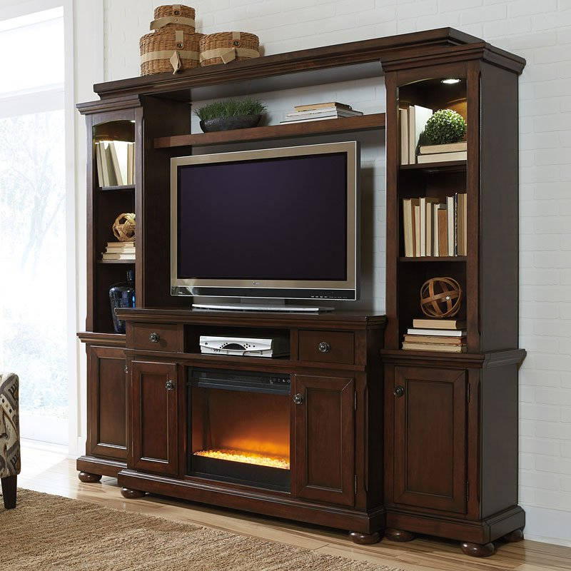 Porter Large Entertainment Wall W Glass And Stone