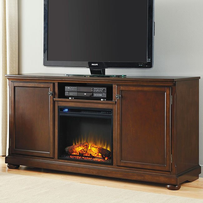 Porter 70 Inch TV Stand W/ Fireplace And Cooler