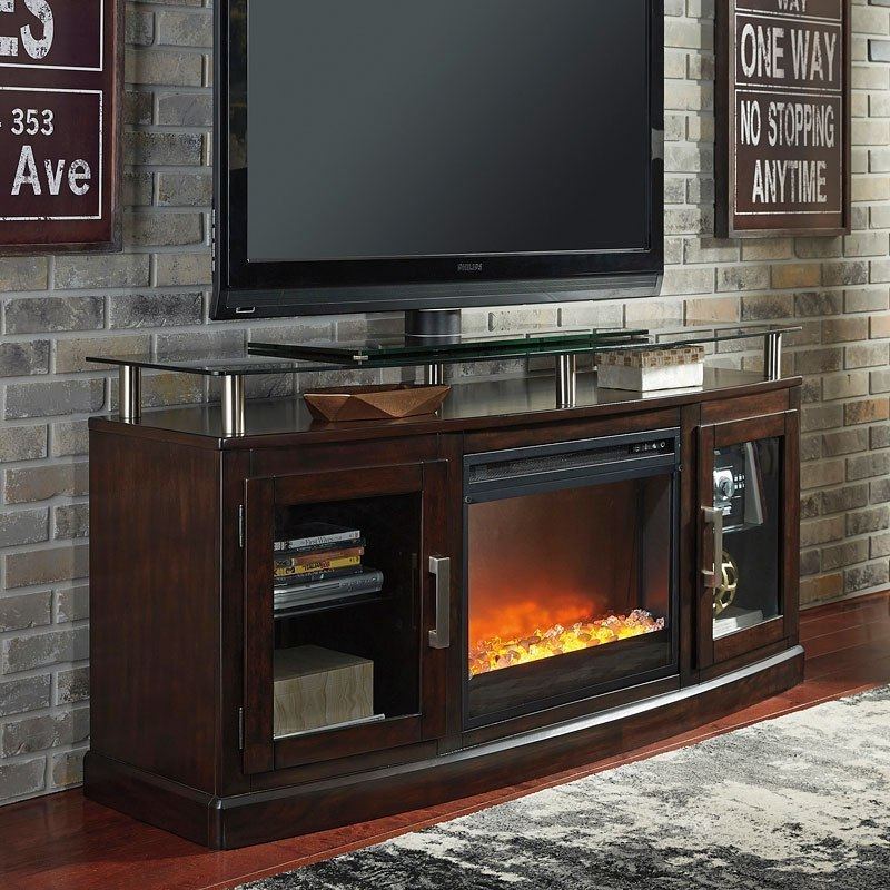 Chanceen Medium Tv Stand W Glass And Stone Fireplace By Signature Design By Ashley Furniturepick
