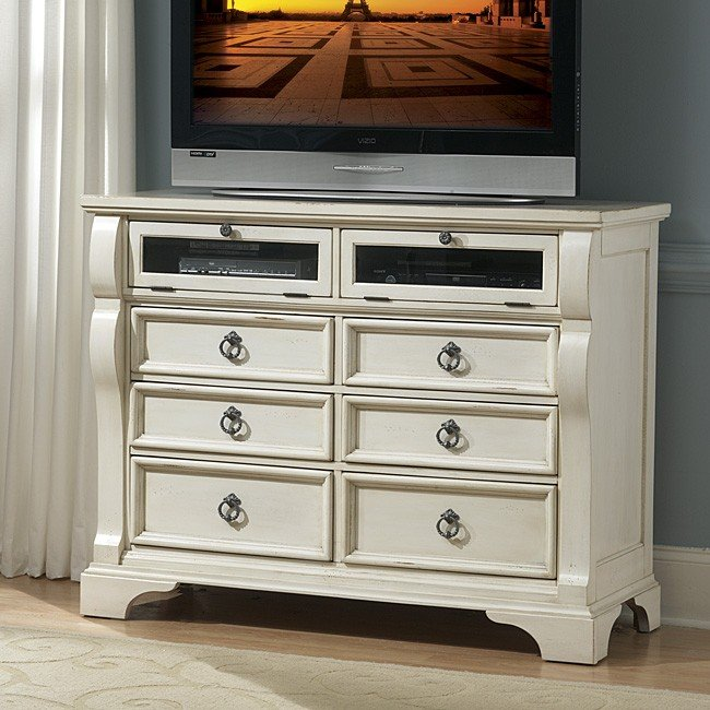 62a61fe15fb Heirloom Entertainment Chest (White) by American Woodcrafters · Heirloom  Low Post Bed ...