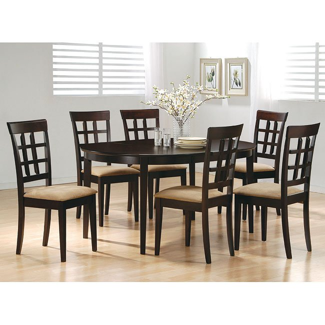 Mix And Match Oval Dining Room Set With Wheat Back Chairs Cuccino