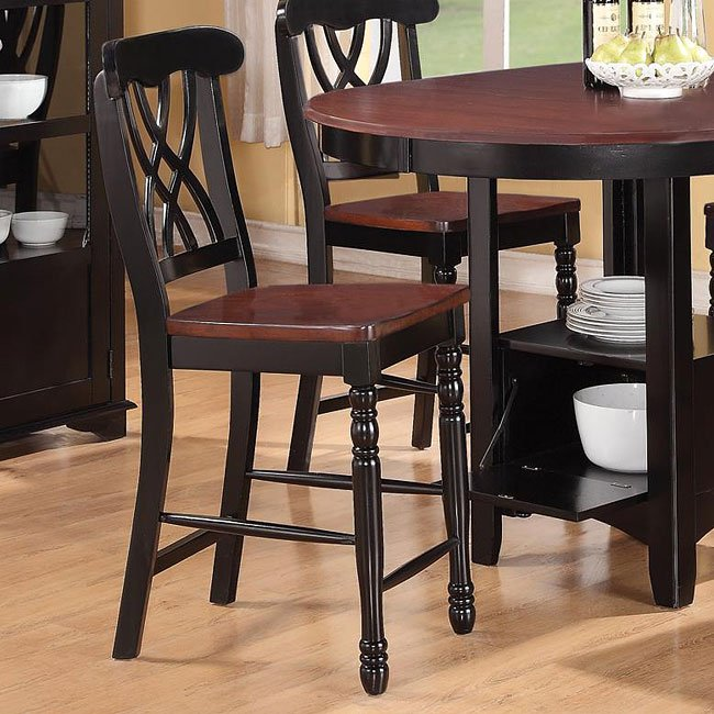 Addison Counter Height Chair Black Cherry Set Of 2 By Coaster Furniture 1 Reviews Furniturepick