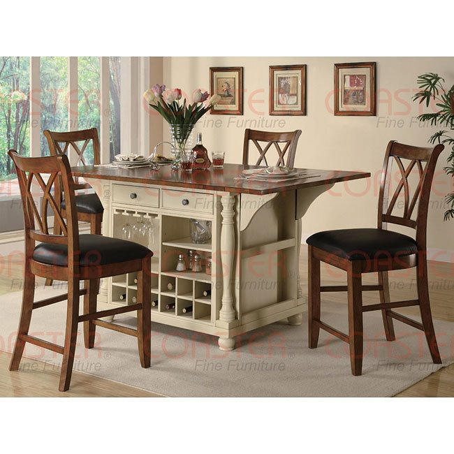 Buttermilk and Cherry Kitchen Island and Chairs Set