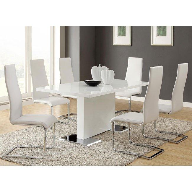 Modern Furniture Dining Room Set: Modern White Dining Room Set By Coaster Furniture, 1