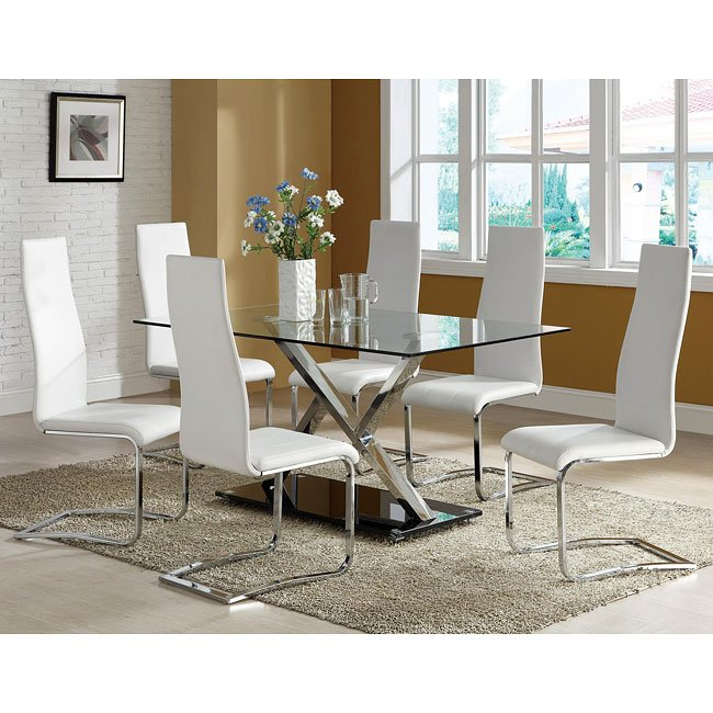 Modern White Dining Room Sets: Modern Chrome Dining Room Set W/ White Chairs By Coaster
