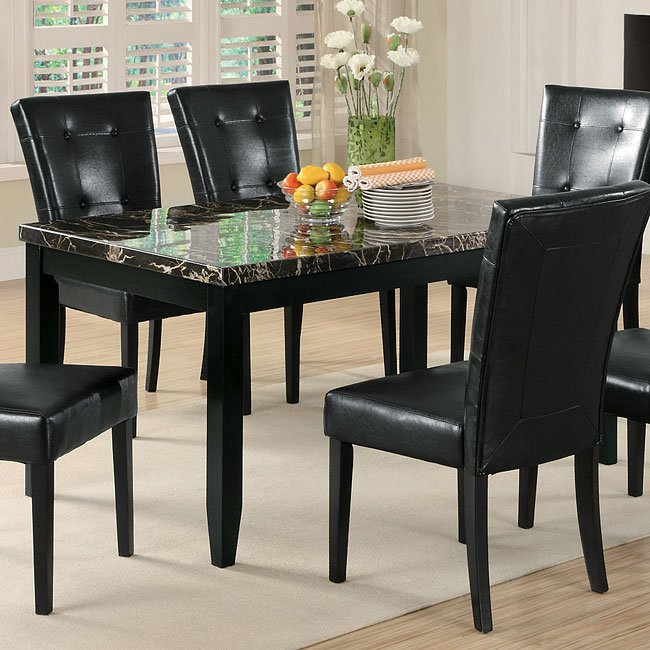Anisa Dining Table W Black Faux Marble Top By Coaster Furniture 1