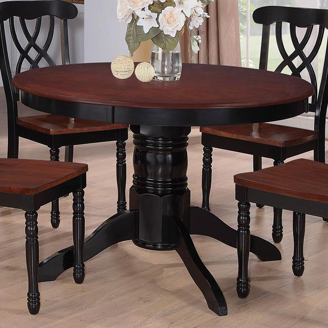 Addison Round Dining Table (Black/ Cherry) By Coaster Furniture