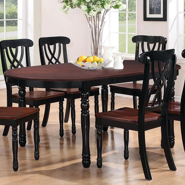 Merveilleux Addison Oval Dining Table (Black/ Cherry) By Coaster Furniture