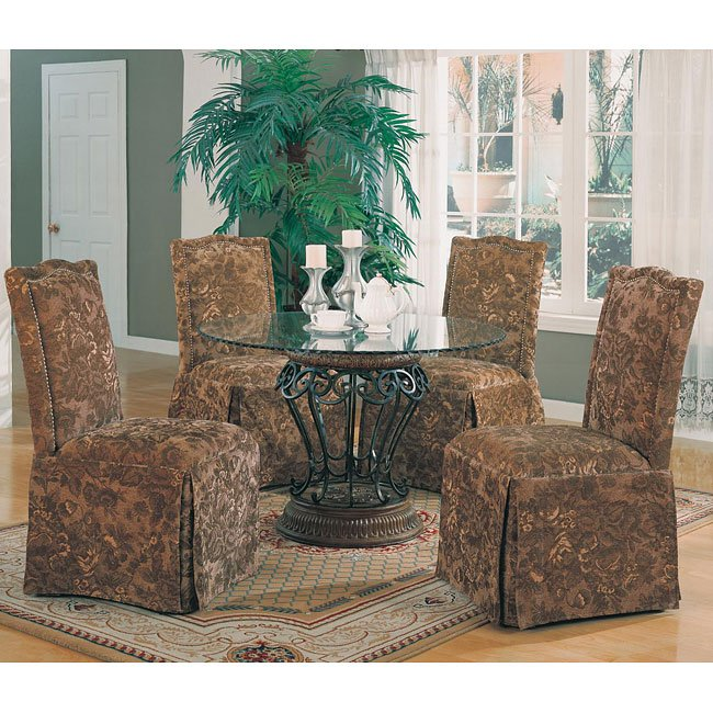 Floral Dining Room Chairs: Slauson Dining Room Set With Green Floral Chairs By