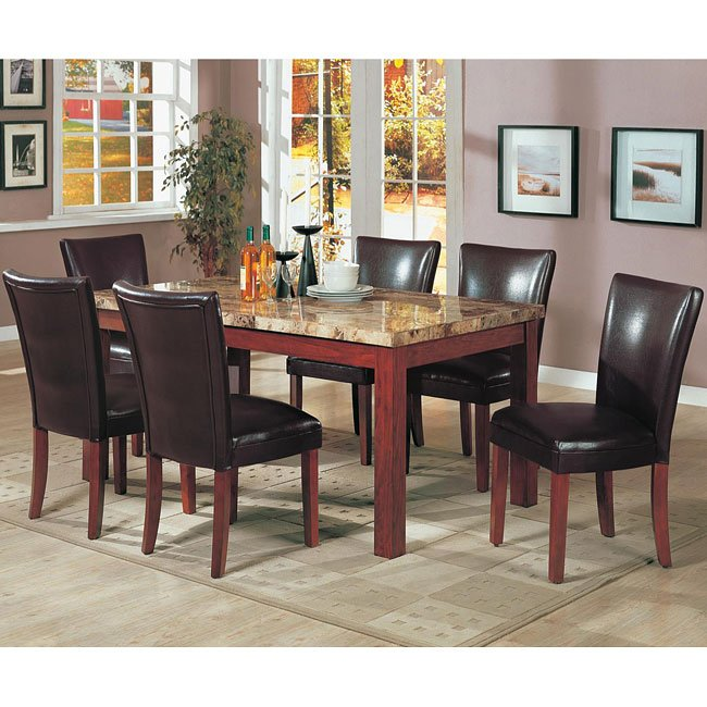 Prime Telegraph Marble Dining Room Set With Brown Chairs By Interior Design Ideas Clesiryabchikinfo