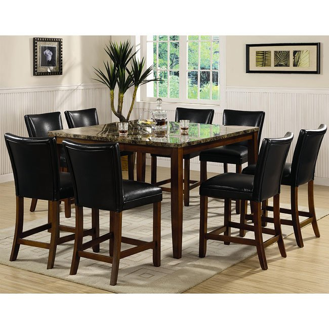 Telegraph Counter Height Dining Set With Faux Marble Top