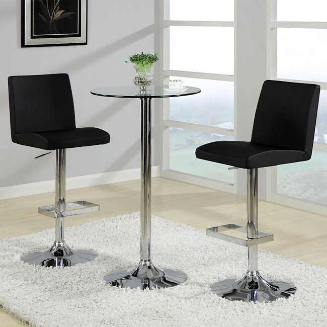 Glass Bar Stools: Glass Top Bar Table Set With Adjustable Black Stools By