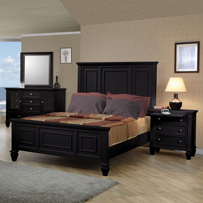 Sandy Beach Panel Bedroom Set Black