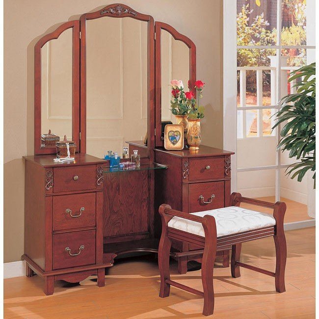 Traditional Vanity Set With Tri Fold Mirror By Coaster