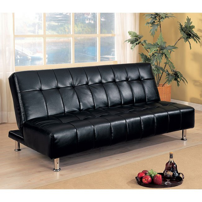 Black Faux Leather Armless Sofa Bed