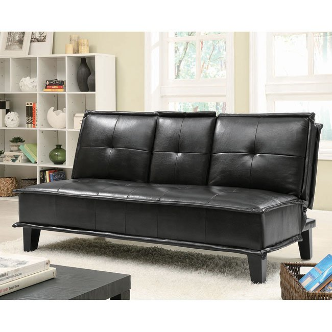 Black Leather Like Sofa Bed W Cupholders