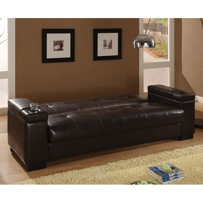 Dark Brown Faux Leather Sofa Bed