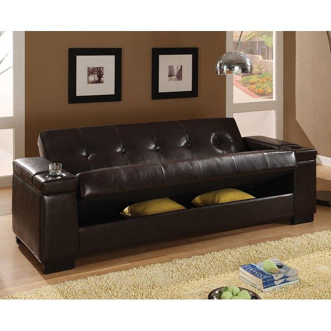 Dark Brown Faux Leather Sofa Bed by Coaster Furniture | FurniturePick