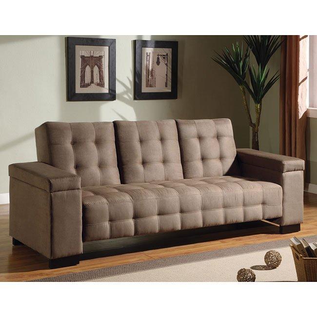 Microfiber Sofa Beds: Tan Microfiber Sofa Bed By Coaster Furniture