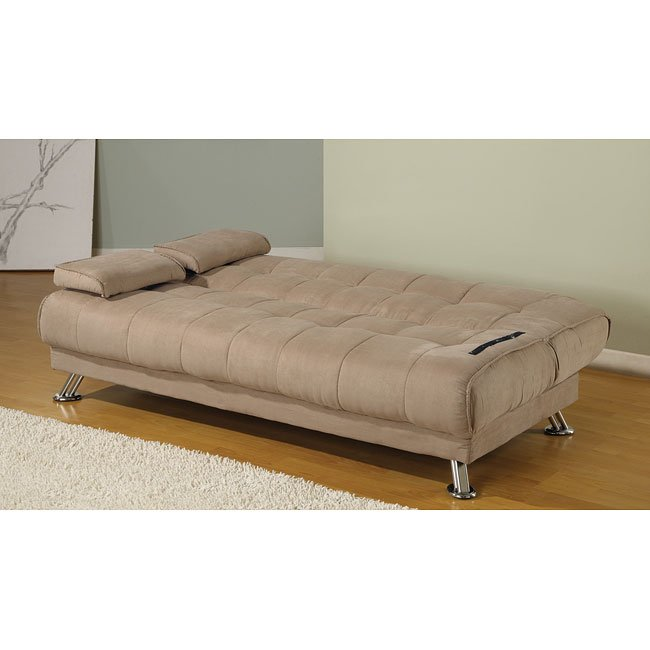Microfiber Sofa Beds: Tan Microfiber Sofa Bed W/ Removable Armrests By Coaster