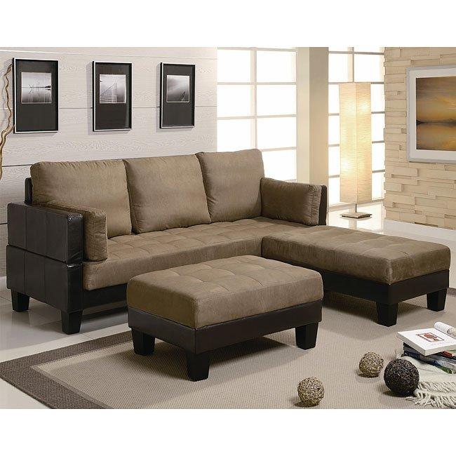 Brown Microfiber Sofa Bed W Ottomans