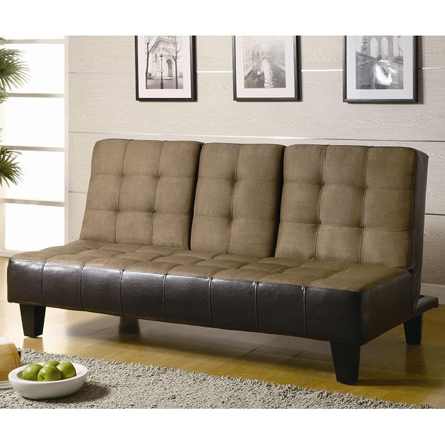 Tan Microfiber Brown Vinyl Sofa Bed