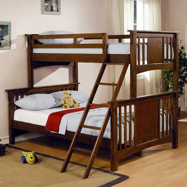 Twin Over Full Bunk Bed W Ladder Coaster Furniture