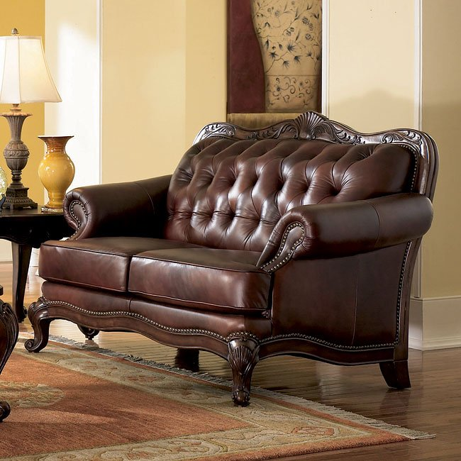 Victorian Leather Living Room Furniture: Victoria Rolled Arm Leather Loveseat By Coaster Furniture