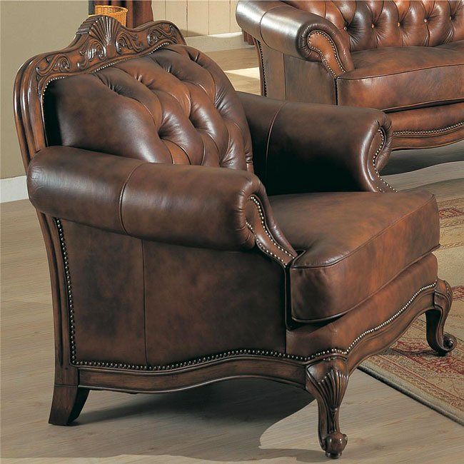 Victorian Leather Living Room Furniture: Victoria Leather Living Room Set By Coaster Furniture, 5