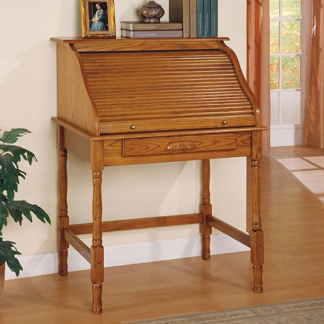 Palmetto Small Roll Top Secretary Desk Oak Coaster