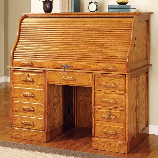 Palmetto Roll Top Computer Desk Oak
