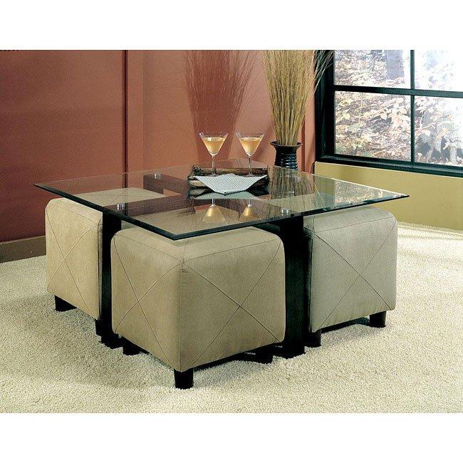 Cermak Customizable Coffee Table Set W/ Ottomans Coaster