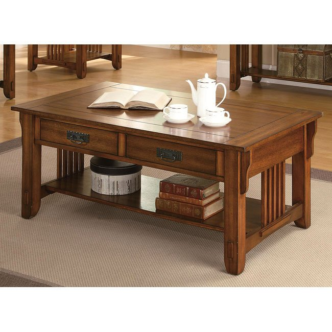 Warm Brown Oak Coffee Table By Coaster Furniture 1 Review